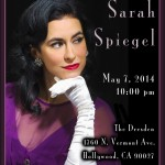 Songstress Sarah Spiegel to perform live at Hollywood's Dresden, May 7th.