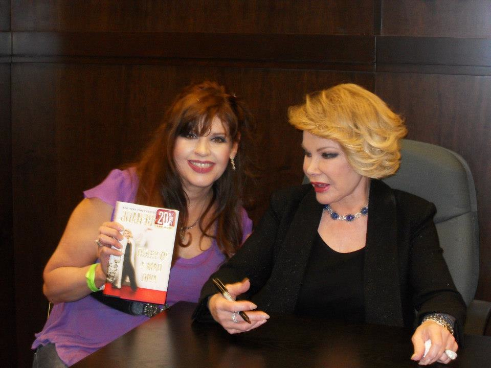 Joan Rivers fan, Margie Anne Clark, talking with the comic icon at her book singing of Diary of a Mad Diva at Barnes and Noble the Grove Los Angeles in the summer of 2014.