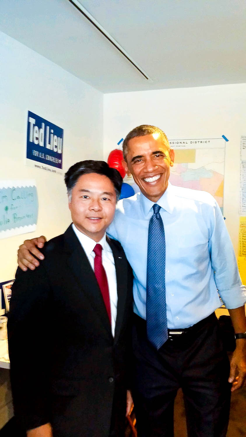 President Barack Obama visits congressional candidate Sen. Ted Lieu at his Venice campaign headquarters