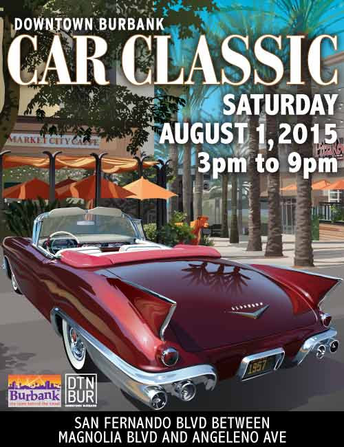 Top automotive design will take center stage at the 4th annual Downtown Burbank Car Classic on Saturday, August 1 from 3:00 to 9:00 pm. Included will be a Red Carpet Expo with celebrity vehicles from film and television, along with a display of legendary cars from the Petersen Automotive Museum and The World Famous West Coast Customs.