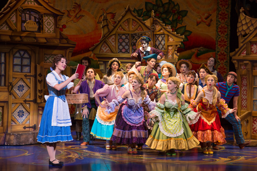 Brooke Quintana as Belle and the cast of Disney's Beauty and the Beast. Photo by Matthew Murphy
