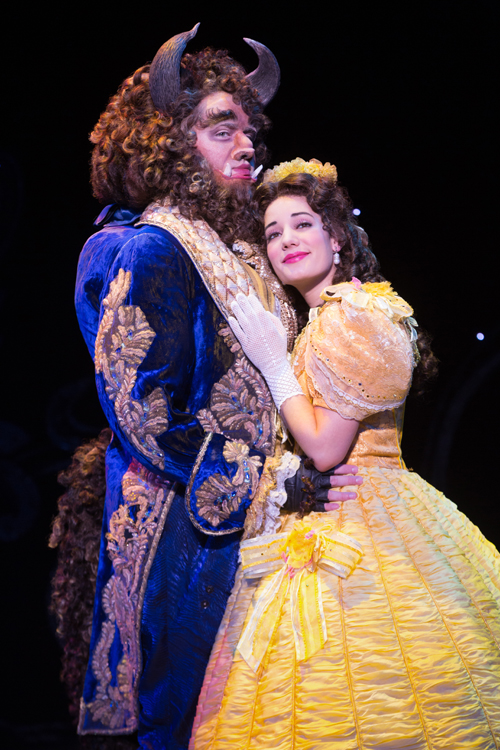 Sam Hartley stars as The Beast with Brooke Quintana as Belle in Disney's Beauty and The Beast. Photo by Matthew Murphy.