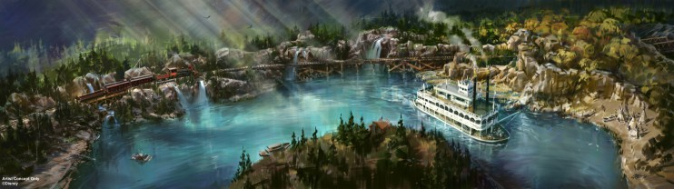 RIVERS OF AMERICA — As part of an ongoing, planned expansion at the Disneyland Resort in Anaheim, Calif., the Rivers of America at Disneyland Park will receive a brand-new waterfront, just outside the location of the new Star Wars-themed land. The new riverbank will also feature an elevated trestle over which the iconic Disneyland Resort Railroad will travel. (Disney Parks)
