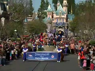 Peyton Manning 'Going to Disneyland'(February 8, 2016) - In honor of the Denver Broncos' unforgettable victory in Super Bowl 50, the Disneyland Resort saluted quarterback Peyton Manning with a champion's parade down Main Street, U.S.A. at Disneyland Park in Anaheim, Calif., on Monday. Some favorite Disney characters joined the parade as Manning rode in a float with his children, Mosely and Marshall. (Paul Hiffmeyer/Disneyland Resort)