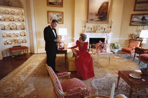 First Lady Nancy Reagan with her husband, President Ronald Reagan, circa 1980s.