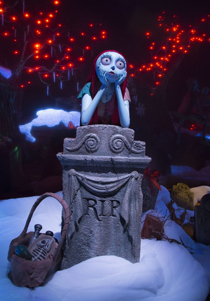 "HAUNTED MANSION HOLIDAY RETURNS WITH NEW MAGIC (ANAHEIM, Calif.) – Jack Skellington brings a unique spark to the season as Haunted Mansion Holiday returns to Disneyland park to celebrate the collision between Halloween and Christmas through Jan. 8, 2017. New this year to this seasonal offering inspired by Walt Disney Pictures classic Tim Burton's ""The Nightmare Before Christmas,"" is Jack's friend Sally who joins him in the Mansion graveyard. (Scott Brinegar/Disneyland)"