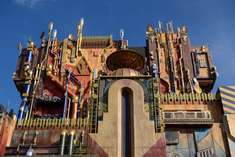 "Guardians of the Galaxy–Mission: BREAKOUT! (April 20, 2017) — The glimmering exterior of The Collector's imposing Fortress looms over the skyline at Disney California Adventure Park. The all-new attraction Guardians of the Galaxy–Mission: BREAKOUT! debuts May 27, 2017 at Disney California Adventure. Guardians of the Galaxy–Mission: BREAKOUT! will take guests through the fortress of The Collector, who is keeping his newest acquisitions, the Guardians of the Galaxy, as prisoners. Guests will board a gantry lift which launches them into a daring adventure as they join Rocket in an attempt to set free his fellow Guardians. The epic new adventure blasts guests straight into the ""Guardians of the Galaxy"" story for the first time, alongside characters from the blockbuster films and comics. As guests join Rocket in his attempt to bust his pals out of The Collector's Fortress, they will experience randomized ride experiences complete with new visual and audio effects and music inspired by the popular film soundtracks. (Richard Harbaugh/Disneyland Resort) - See more at: http://disneylandnews.com/photos/2017/04/19/guardians-of-the-galaxy-mission-breakout-6/#sthash.tHHe9mQW.dpuf"