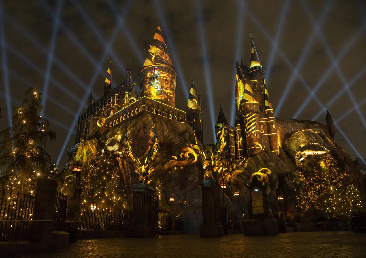 "Beginning June 23, guests are invited to see ""The Wizarding World of Harry PotterTM"" in a whole new light when Universal Studios Hollywood introduces its all-new ""The Nighttime Lights at Hogwarts™ Castle,"" featuring a dazzling light projection experience against the backdrop of Hogwarts™ School of Witchcraft and Wizardry."