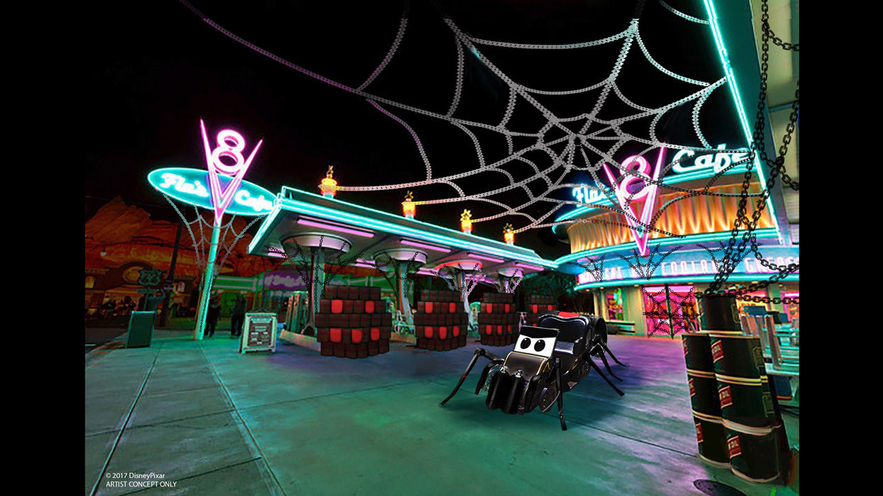 "Two Cars Land attractions will also transform for the first time ever this Halloween season. Luigi's Rollickin' Roadsters will become Luigi's Honkin' Haul-O-Ween, an all-new spooktacular dance celebration where Luigi and Guido will entertain the cugini (cousins) with Halloween twists on traditional Italian festival songs like the ""Terror-antella,"" ""The Chop Top of Carsoli"" and more. Mater's Junkyard Jamboree will become Mater's Graveyard JamBOOree, where guests will whirl around the graveyard to the tune of creepy new songs and fun haunted twists on favorites such as ""Monster Truck Smash"" and ""Welcome to Radiator Screams."""