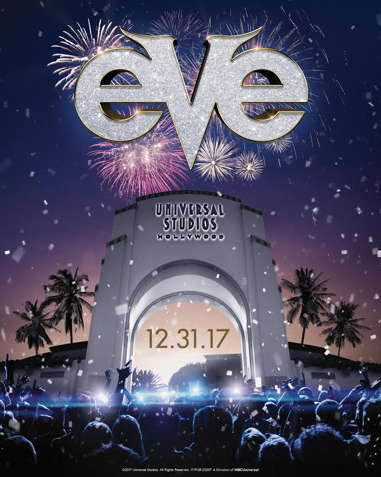 Universal Studios Hollywood will ring in 2018 with Hollywood's biggest New Year's Eve celebration, EVE, on Sunday, December 31, 2017, with extended theme park hours to 1:00 a.m.